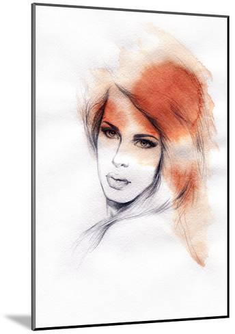 Beautiful Woman. Watercolor Illustration-Anna Ismagilova-Mounted Art Print