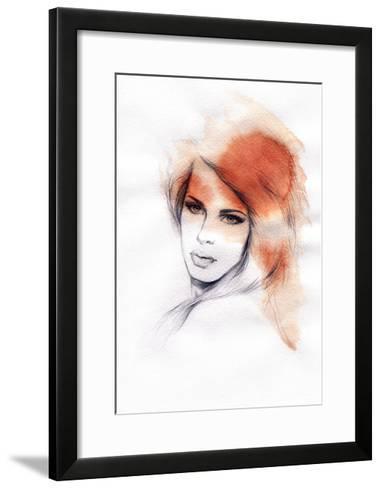 Beautiful Woman. Watercolor Illustration-Anna Ismagilova-Framed Art Print