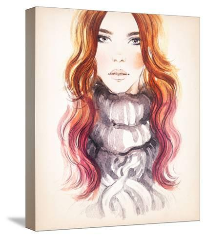 Woman Portrait .Abstract Watercolor .Fashion Background-Anna Ismagilova-Stretched Canvas Print