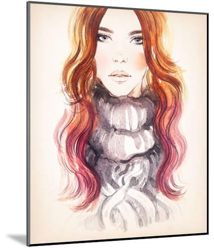 Woman Portrait .Abstract Watercolor .Fashion Background-Anna Ismagilova-Mounted Art Print