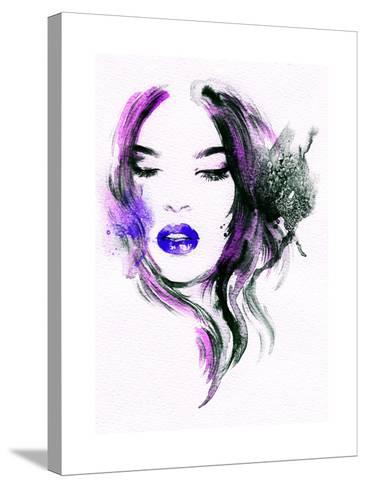Abstract Watercolor .Woman Portrait-Anna Ismagilova-Stretched Canvas Print