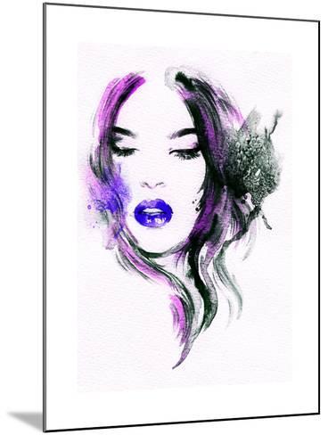 Abstract Watercolor .Woman Portrait-Anna Ismagilova-Mounted Art Print