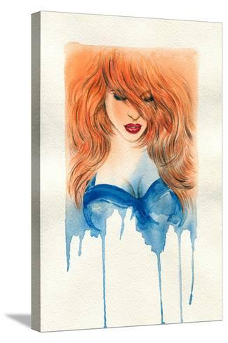 Beautiful Woman. Watercolor Illustration-Anna Ismagilova-Stretched Canvas Print
