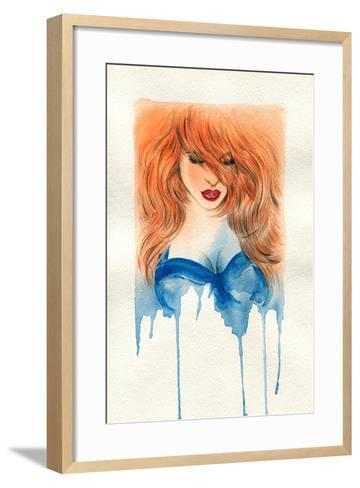 Beautiful Woman. Watercolor Illustration-Anna Ismagilova-Framed Art Print