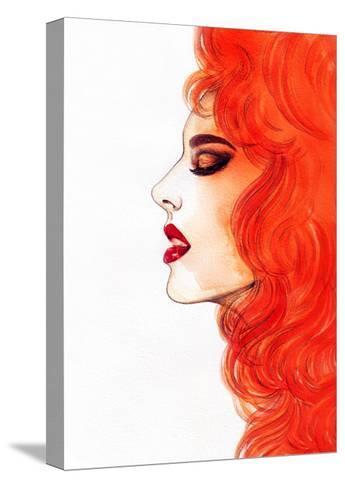 Beautiful Woman. Watercolor Illustration-Anna Ismagilova-Stretched Canvas Print