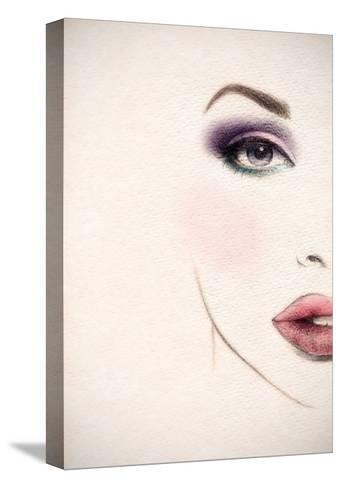 Beautiful Woman Face. Watercolor Illustration-Anna Ismagilova-Stretched Canvas Print