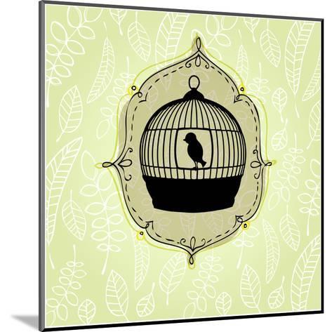 Elegant Nature Background with Birdcage-rebekka ivacson-Mounted Art Print