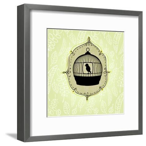 Elegant Nature Background with Birdcage-rebekka ivacson-Framed Art Print