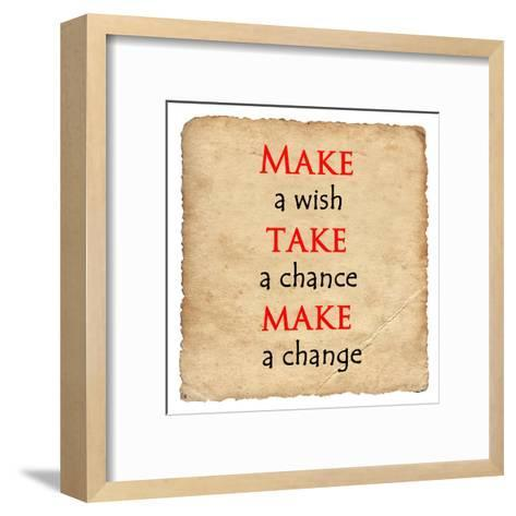 Inspirational Motivating Quote on Old Paper Background- malydesigner-Framed Art Print