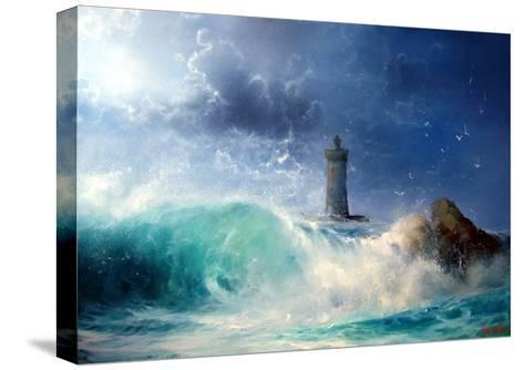 Seascape Wave and Lighthouse- yakymenko-Stretched Canvas Print