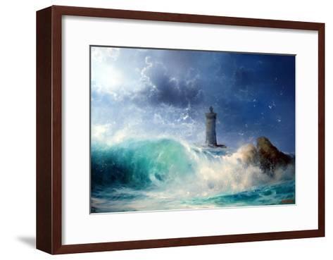 Seascape Wave and Lighthouse- yakymenko-Framed Art Print