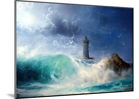 Seascape Wave and Lighthouse- yakymenko-Mounted Art Print