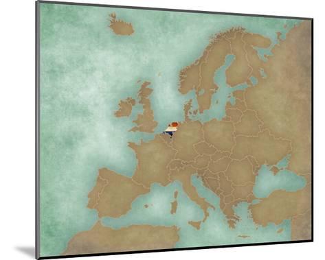 Map of Europe - Netherlands (Dark)-Tindo-Mounted Art Print