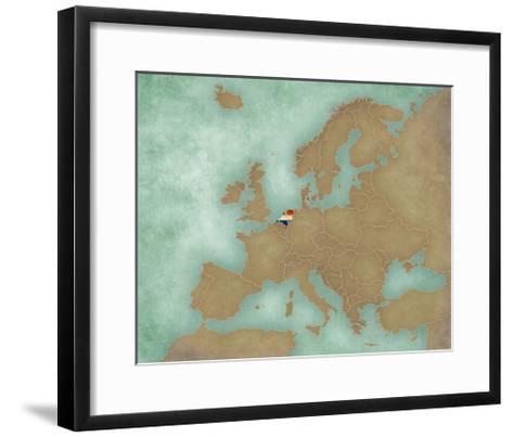 Map of Europe - Netherlands (Dark)-Tindo-Framed Art Print