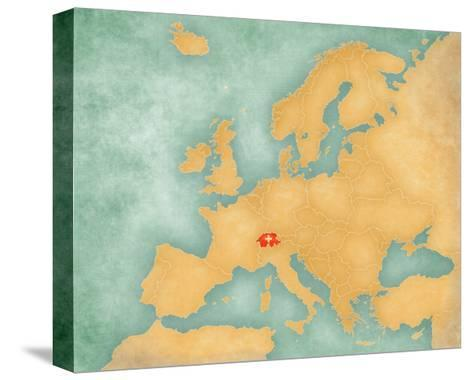 Map of Europe - Switzerland (Summer Style)-Tindo-Stretched Canvas Print