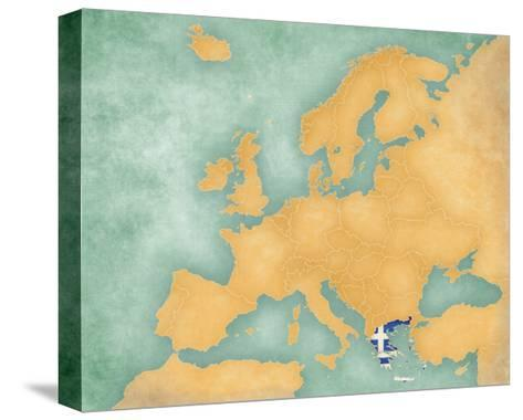 Map of Europe - Greece (Summer Style)-Tindo-Stretched Canvas Print