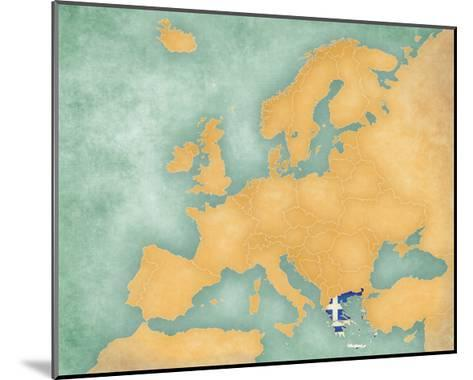 Map of Europe - Greece (Summer Style)-Tindo-Mounted Art Print