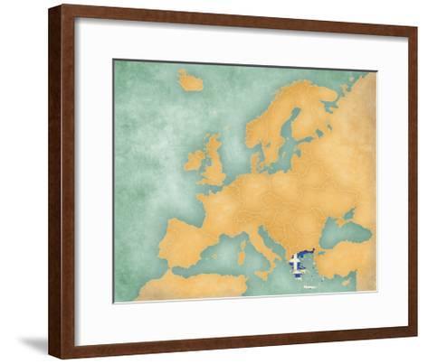 Map of Europe - Greece (Summer Style)-Tindo-Framed Art Print