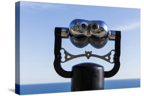 Binoculars Overlooking Mediterranean Sea in Vernazza, Cinque Terre, Italy-Paul Souders-Stretched Canvas Print