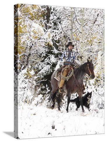 Cowboys Riding in Autumn Aspens with a Fresh Snowfall-Terry Eggers-Stretched Canvas Print