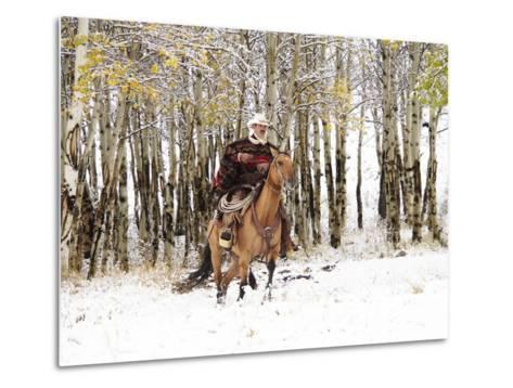 Cowboys Riding in Autumn Aspens with a Fresh Snowfall-Terry Eggers-Metal Print