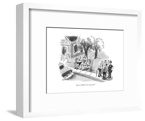 """Damn it, Wilbur, that's our bench!"" - New Yorker Cartoon-Barney Tobey-Framed Art Print"