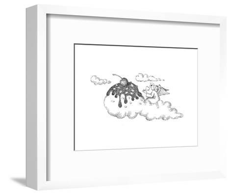 Angel eating ice cream. - Cartoon-John O'brien-Framed Art Print