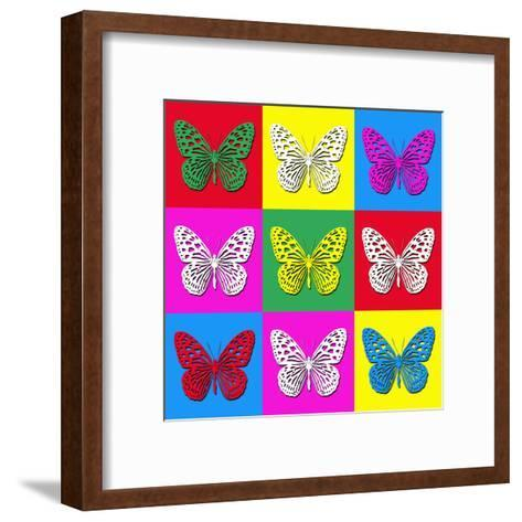 Pop Art Illustration with Colorful Butterflies-anasztazia-Framed Art Print