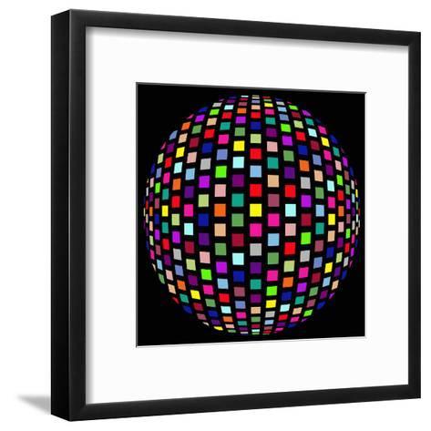 Colorful Party Light on Black Background-anasztazia-Framed Art Print