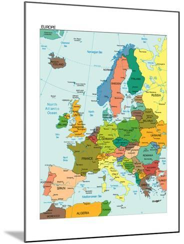 World Earth Europe Continent Country Map-juan35mm-Mounted Art Print