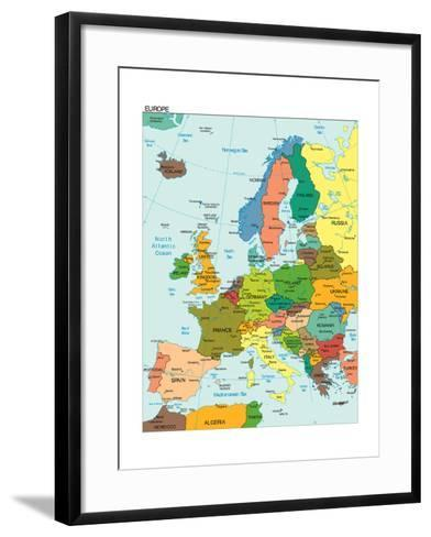 World Earth Europe Continent Country Map-juan35mm-Framed Art Print