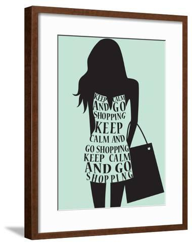 Silhouette of Woman in Dress from Words.-Ladoga-Framed Art Print