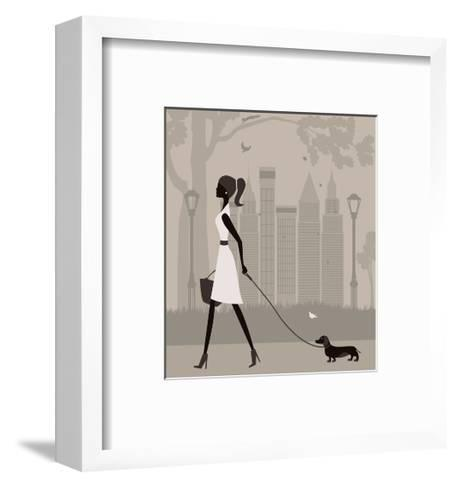 Woman Walking with a Dog. Vector-Ladoga-Framed Art Print