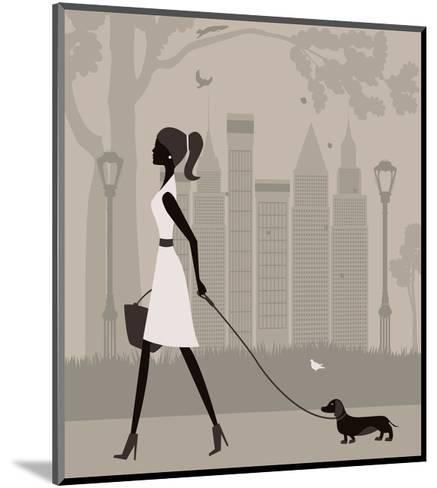 Woman Walking with a Dog. Vector-Ladoga-Mounted Art Print