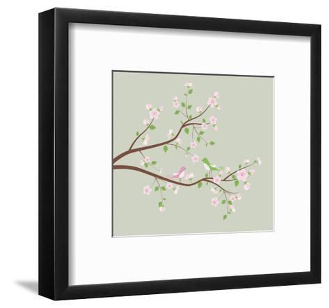 Spring Tree with Birds.-Ladoga-Framed Art Print