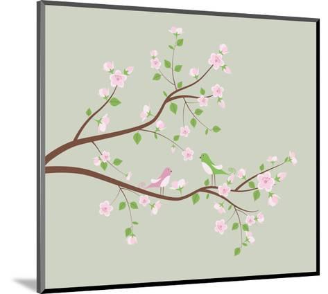 Spring Tree with Birds.-Ladoga-Mounted Art Print