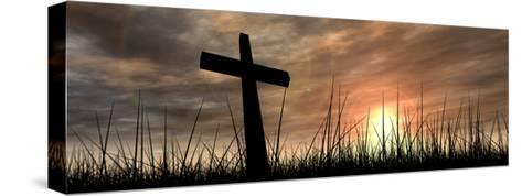 Black Cross in Grass at Sunset-high_resolution-Stretched Canvas Print