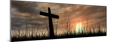 Black Cross in Grass at Sunset-high_resolution-Mounted Art Print