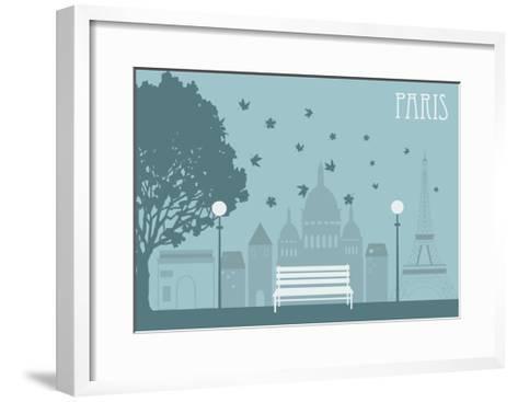Park in Paris. Vector-Ladoga-Framed Art Print