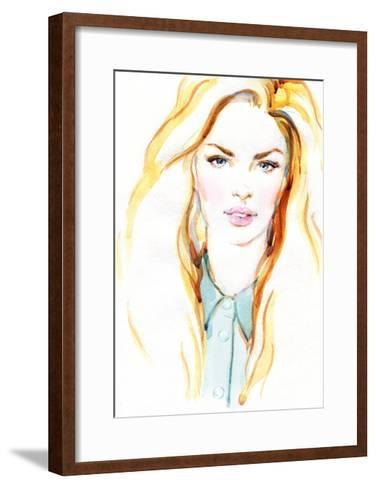 Woman Portrait .Abstract Watercolor .Fashion Background-Anna Ismagilova-Framed Art Print