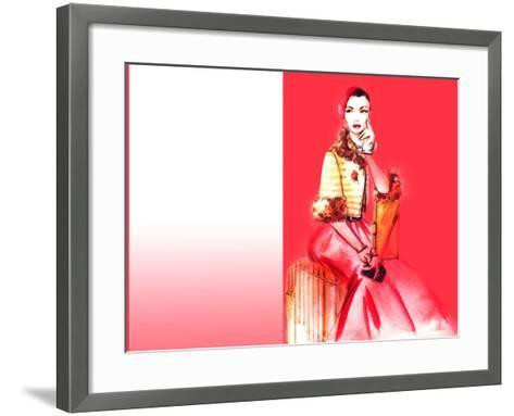 Hand Drawn Traveling Woman with Luggage-Anna Ismagilova-Framed Art Print