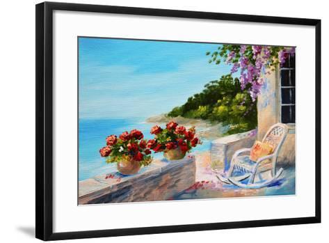 Oil Painting - Balcony near the Sea-max5799-Framed Art Print