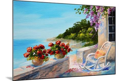 Oil Painting - Balcony near the Sea-max5799-Mounted Art Print