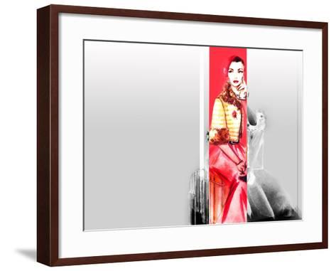 Hand Drawn Traveling Woman with Luggage-Anna Ismagilova-Framed Art Print