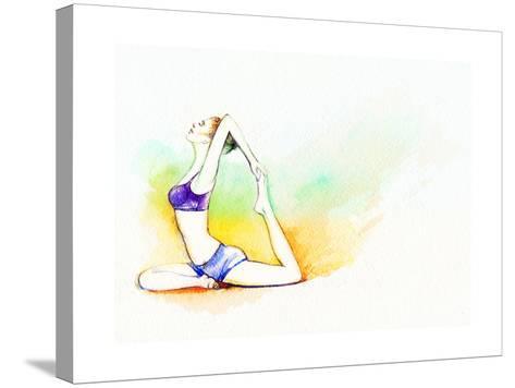 Yoga Position. Watercolor Illustration-Anna Ismagilova-Stretched Canvas Print