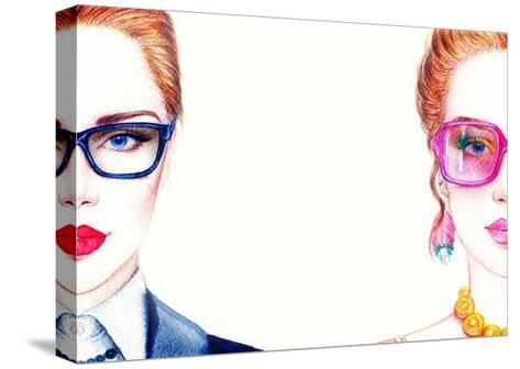 Woman in Glasses-Anna Ismagilova-Stretched Canvas Print