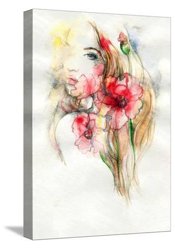 Woman and Flowers-Anna Ismagilova-Stretched Canvas Print