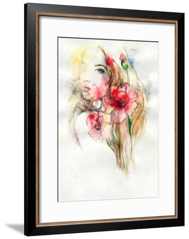 Woman and Flowers-Anna Ismagilova-Framed Art Print