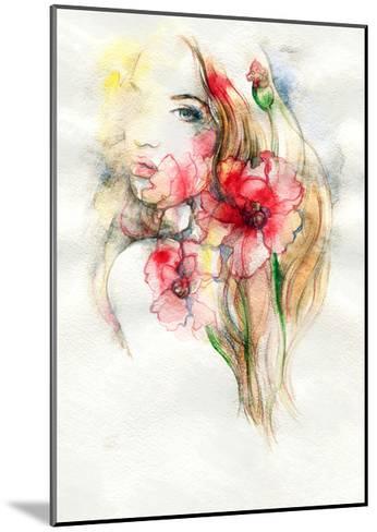 Woman and Flowers-Anna Ismagilova-Mounted Art Print