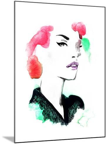 Woman Portrait .Abstract Watercolor .Fashion Background-Anna Ismagilova-Mounted Art Print